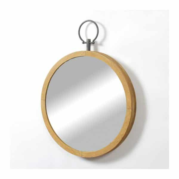 Wooden Frame Rd Wall Mirror W/ Ring