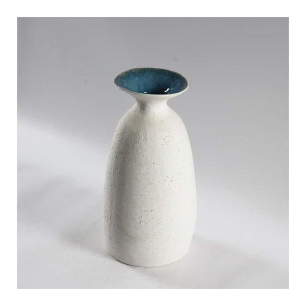Dugald White Vase with Blue Lips - Medium