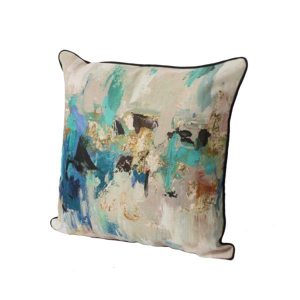 Blue/ Gold/ Black Abstract Design Throw Pillow