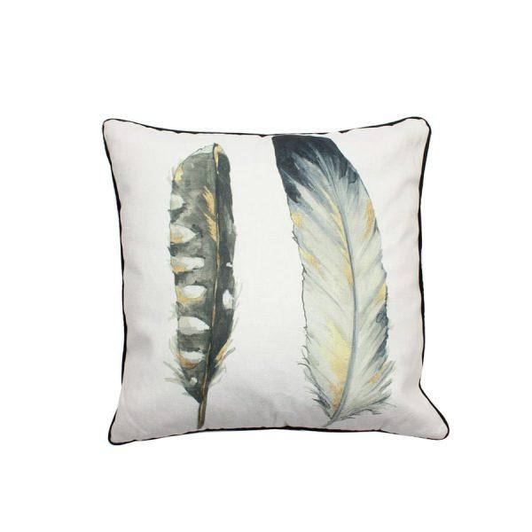 Narrow Feathers Design Throw Pillow
