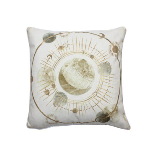 Celestial Circular Gold Earth Design Throw Pillow