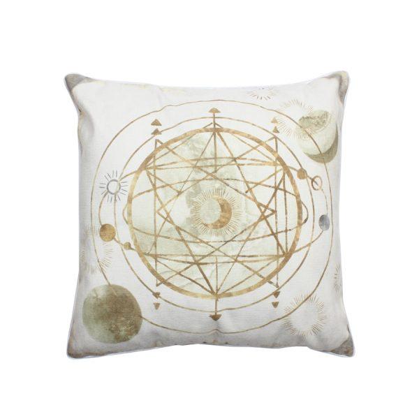 Celestial Circular Gold Mars/Stars Design Throw Pillow