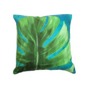 Monstera Closed Leaf Design Throw Pillow