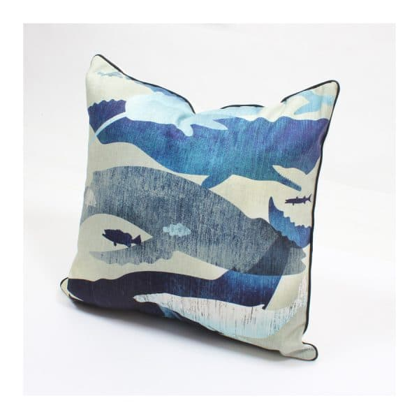 Blue Whales Swimming Design Throw Pillow