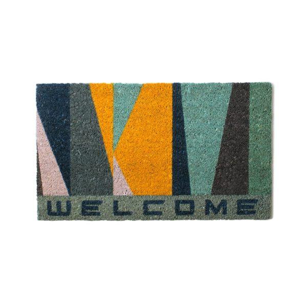 """Welcome"" Blue & Yellow Mat"