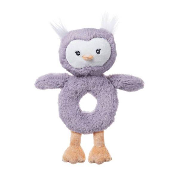 Baby GUND Baby Toothpick Quinn Owl Rattle Plush Stuffed Animal, Purple