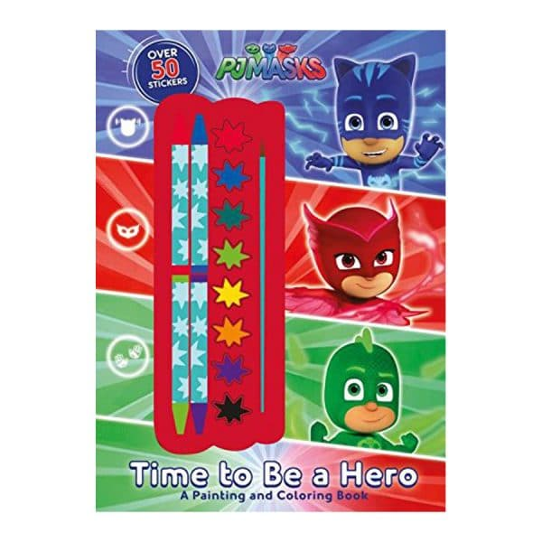 Pj Masks Time to Be a Hero: A Painting and Coloring Book Softcover-Paperback