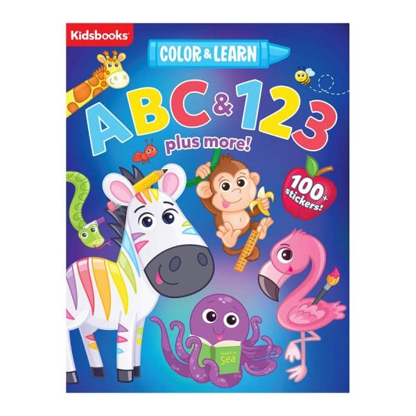 Color & Learn: ABC & 123 plus more! Coloring Book-100+ Stickers Included Paperback